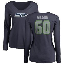 Women's Eddy Wilson Seattle Seahawks Name & Number Logo Slim Fit Long Sleeve T-Shirt - Navy