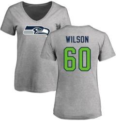 Women's Eddy Wilson Seattle Seahawks Name & Number Logo Slim Fit T-Shirt - Ash