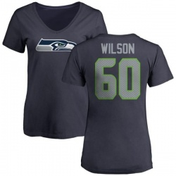 Women's Eddy Wilson Seattle Seahawks Name & Number Logo Slim Fit T-Shirt - Navy