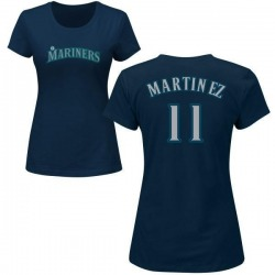 Women's Edgar Martinez Seattle Mariners Roster Name & Number T-Shirt - Navy