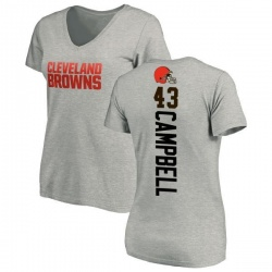 Women's Elijah Campbell Cleveland Browns Backer V-Neck T-Shirt - Ash