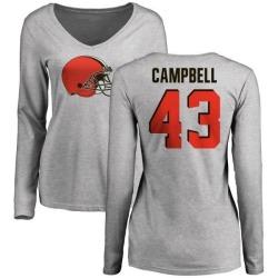 Women's Elijah Campbell Cleveland Browns Name & Number Logo Slim Fit Long Sleeve T-Shirt - Ash