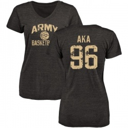 Women's Emmanuel Aka Army Black Knights Distressed Basketball Tri-Blend V-Neck T-Shirt - Black