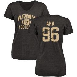 Women's Emmanuel Aka Army Black Knights Distressed Football Tri-Blend V-Neck T-Shirt - Black