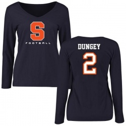 Women's Eric Dungey Syracuse Orange Football Slim Fit Long Sleeve T-Shirt - Navy