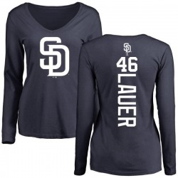 Women's Eric Lauer San Diego Padres Backer Slim Fit Long Sleeve T-Shirt - Navy