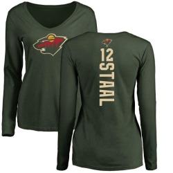 Women's Eric Staal Minnesota Wild Backer Long Sleeve T-Shirt - Green