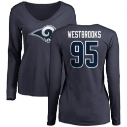 Women's Ethan Westbrooks Los Angeles Rams Name & Number Logo Slim Fit Long Sleeve T-Shirt - Navy