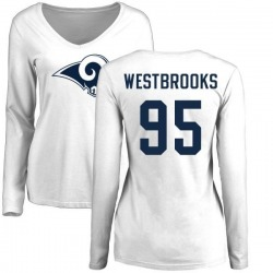 Women's Ethan Westbrooks Los Angeles Rams Name & Number Logo Slim Fit Long Sleeve T-Shirt - White