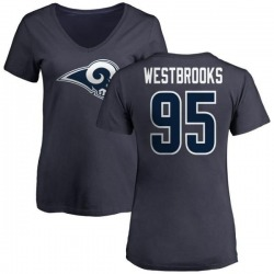 Women's Ethan Westbrooks Los Angeles Rams Name & Number Logo Slim Fit T-Shirt - Navy