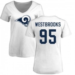 Women's Ethan Westbrooks Los Angeles Rams Name & Number Logo Slim Fit T-Shirt - White