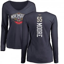 Women's E'Twaun Moore New Orleans Pelicans Navy Backer Long Sleeve T-Shirt