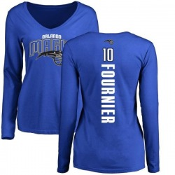 Women's Evan Fournier Orlando Magic Royal Backer Long Sleeve T-Shirt