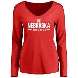 Women's Fyn Anderson Nebraska Cornhuskers Sport Wordmark Long Sleeve T-Shirt - Scarlet