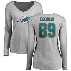 Women's Gavin Escobar Miami Dolphins Name & Number Logo Slim Fit Long Sleeve T-Shirt - Ash