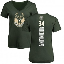 Women's Giannis Antetokounmpo Milwaukee Bucks Green Backer T-Shirt