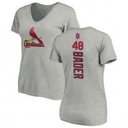 Women's Harrison Bader St. Louis Cardinals Backer Slim Fit T-Shirt - Ash