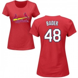 Women's Harrison Bader St. Louis Cardinals Roster Name & Number T-Shirt - Red