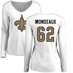 Women's Henry Mondeaux New Orleans Saints Name & Number Logo Slim Fit Long Sleeve T-Shirt - White