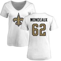 Women's Henry Mondeaux New Orleans Saints Name & Number Logo Slim Fit T-Shirt - White