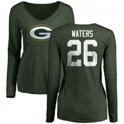 Women's Herb Waters Green Bay Packers Name & Number Logo Slim Fit Long Sleeve T-Shirt - Green