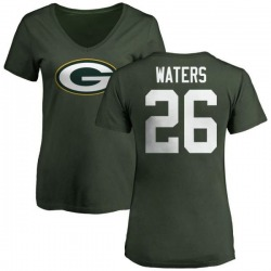 Women's Herb Waters Green Bay Packers Name & Number Logo Slim Fit T-Shirt - Green