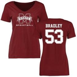 Women's Hunter Bradley Mississippi State Bulldogs Basketball Slim Fit T-Shirt - Maroon