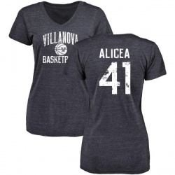 Women's Isaiah Alicea Villanova Wildcats Distressed Basketball Tri-Blend V-Neck T-Shirt - Navy