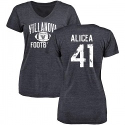 Women's Isaiah Alicea Villanova Wildcats Distressed Football Tri-Blend V-Neck T-Shirt - Navy