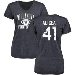 Women's Isaiah Alicea Villanova Wildcats Distressed Football Tri-Blend V-Neck T-Shirt - Navy