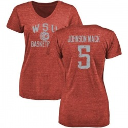Women's Isaiah Johnson-Mack Washington State Cougars Distressed Basketball Tri-Blend V-Neck T-Shirt - Crimson
