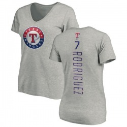 Women's Ivan Rodriguez Texas Rangers Backer Slim Fit T-Shirt - Ash