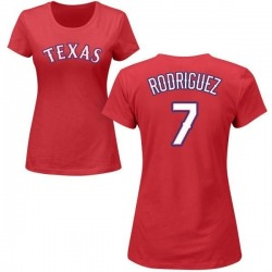 Women's Ivan Rodriguez Texas Rangers Roster Name & Number T-Shirt - Red