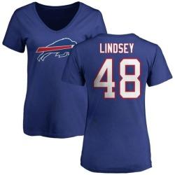 Women's Jacob Lindsey Buffalo Bills Name & Number Logo Slim Fit T-Shirt - Royal