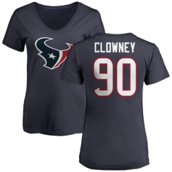 Women's Jadeveon Clowney Houston Texans Name & Number Logo Slim Fit T-Shirt - Navy