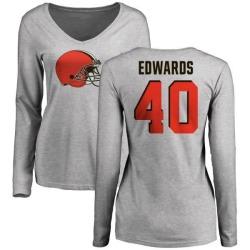 Women's Jahwan Edwards Cleveland Browns Name & Number Logo Slim Fit Long Sleeve T-Shirt - Ash