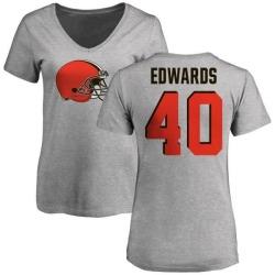 Women's Jahwan Edwards Cleveland Browns Name & Number Logo Slim Fit T-Shirt - Ash
