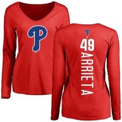 Women's Jake Arrieta Philadelphia Phillies Backer Slim Fit Long Sleeve T-Shirt - Red