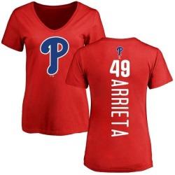 Women's Jake Arrieta Philadelphia Phillies Backer Slim Fit T-Shirt - Red