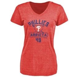 Women's Jake Arrieta Philadelphia Phillies Base Runner Tri-Blend T-Shirt - Red
