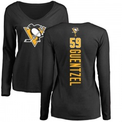 Women's Jake Guentzel Pittsburgh Penguins Backer Long Sleeve T-Shirt - Black