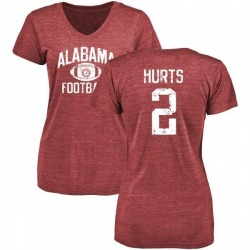 Women's Jalen Hurts Alabama Crimson Tide Distressed Football Tri-Blend V-Neck T-Shirt - Crimson