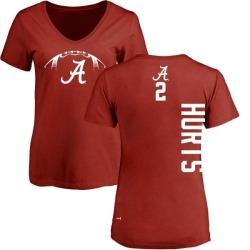 Women's Jalen Hurts Alabama Crimson Tide Football Backer V-Neck T-Shirt - Crimson