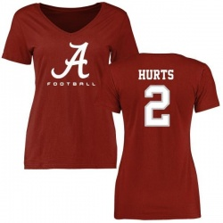 Women's Jalen Hurts Alabama Crimson Tide Football Slim Fit T-Shirt - Crimson