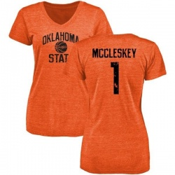 Women's Jalen McCleskey Oklahoma State Cowboys Basketball Tri-Blend T-Shirt - Orange