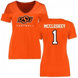 Women's Jalen McCleskey Oklahoma State Cowboys Football T-Shirt - Orange