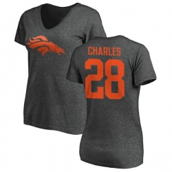 Women's Jamaal Charles Denver Broncos One Color T-Shirt - Ash