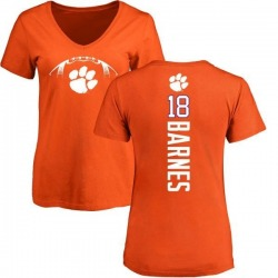 Women's James Barnes Clemson Tigers Football Backer V-Neck T-Shirt - Orange