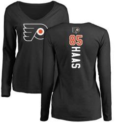 Women's James De Haas Philadelphia Flyers Backer Long Sleeve T-Shirt - Black