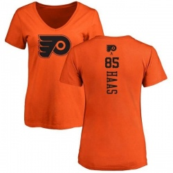 Women's James De Haas Philadelphia Flyers One Color Backer T-Shirt - Orange
